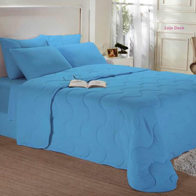 Edredom de Malha Liso Azul - Edromania
