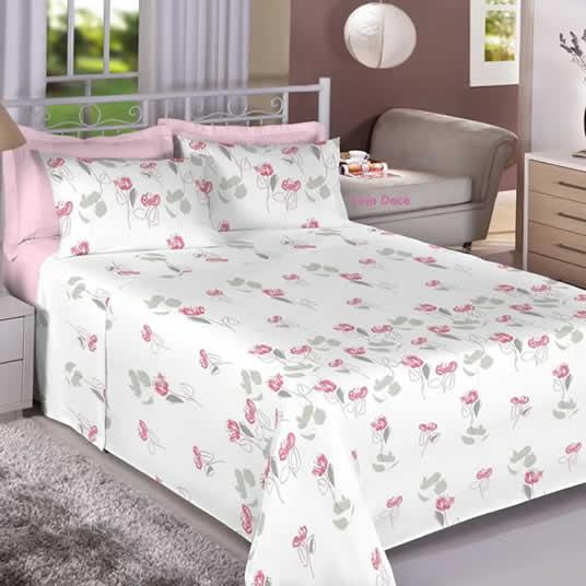 Jogo de Cama de Tecido Penteado - Premium Plus Rosa